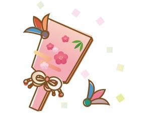 かわいい梅の羽子板の年賀状お正月イラスト 年賀状の無料