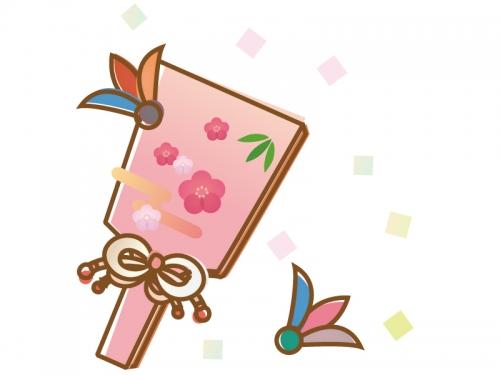 かわいい梅の羽子板の年賀状・お正月イラスト