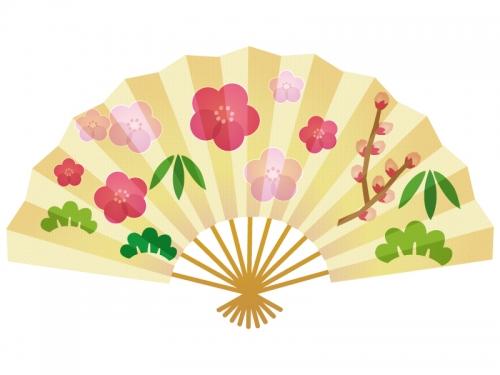 梅が入った金の扇子の年賀状イラスト