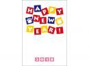 肉球とカラフルなHappyNewYearの年賀状はがきテンプレート