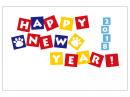 肉球とカラフルなHappyNewYearの年賀状はがきテンプレート02