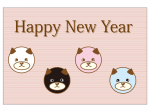 かわいい丸い戌の2018年・年賀状はがきテンプレート