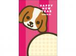 戌とHappyNewYearのポップな年賀状はがきテンプレート