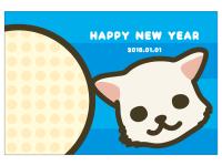 戌とHappyNewYearのポップな年賀状はがきテンプレート02