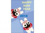 戌張子とHappyNewYearの年賀状はがきテンプレート