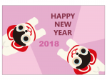 戌張子とHappyNewYearの年賀状はがきテンプレート02