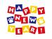 肉球と「HappyNewYear」文字の年賀状イラスト