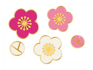 三色の梅の花の年賀状お正月イラスト03 年賀状2019 無料イラスト