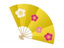 梅の花と金色の扇子の年賀状イラスト