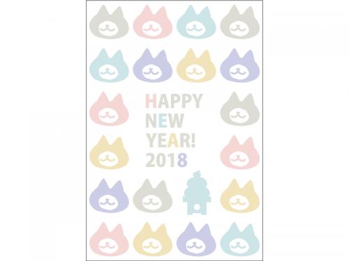 カラフルな犬のシルエットの2018年・年賀状はがきテンプレート