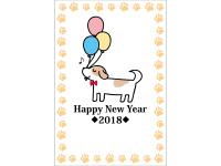 犬と風船のHappyNewYear年賀状はがきテンプレート03