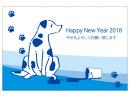 ペンキと犬の2018年・年賀状はがきテンプレート