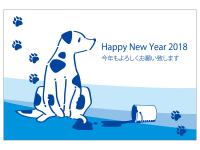 ペンキと犬の年賀状はがきテンプレート