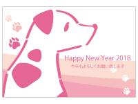 犬と肉球とHappyNewYearの年賀状はがきテンプレート