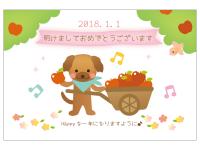 絵本風の犬の2018年・年賀状はがきテンプレート