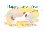 メルヘンな犬のHappyNewYear年賀状はがきテンプレート