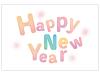 カラフルなHappyNewYearの年賀状はがきテンプレート