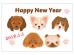 いろいろな犬種の2018年・年賀状はがきテンプレート