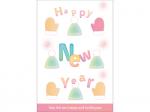 毛糸の帽子と手袋の「HappyNewYear」の年賀状はがきテンプレート