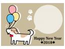 犬と風船のかわいいHappyNewYear年賀状はがきテンプレート