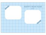 青いリボンの写真フレーム年賀状はがきテンプレート