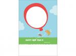 風船と猪の写真フレーム年賀状はがきテンプレート