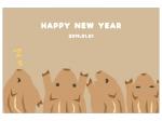 「HappyNewYear」のかわいい猪の年賀状はがきテンプレート