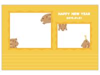 「HappyNewYear」と猪の写真フレーム年賀状はがきテンプレート02