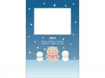 雪だるまの猪の写真フレーム年賀状はがきテンプレート