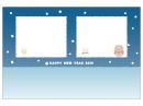 雪だるまの猪の写真フレーム年賀状はがきテンプレート02