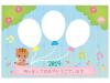 かわいい猪と風船の写真フレーム年賀状テンプレート