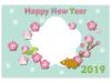 梅の切り絵風写真フレーム年賀状テンプレート