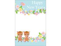お花とかわいい猪の年賀状テンプレート