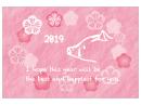 花のフレームと猪の年賀状テンプレート