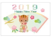 パステルカラーの猪年の年賀状テンプレート