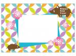 七宝パターンと猪の写真フレーム年賀状テンプレート