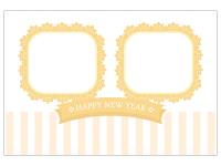 2つの枠のガーリー風の写真フレーム年賀状はがきテンプレート