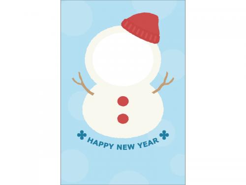 雪だるまの写真フレーム年賀状はがきテンプレート