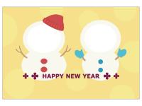 2つの雪だるまの写真フレーム年賀状はがきテンプレート